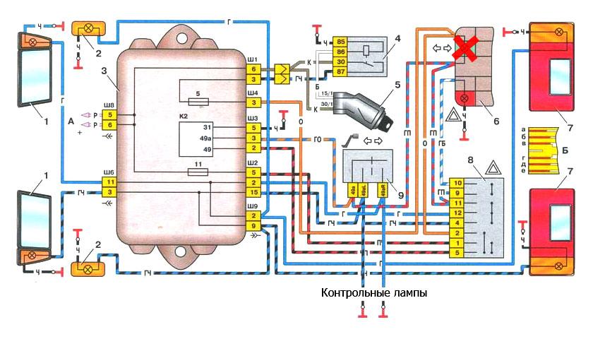 Схема поворотников ваз 2109