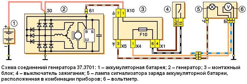 Схема подключения генератора 37.3701